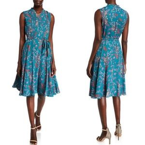 Nanette Lepore teal floral pleat pintuck dress